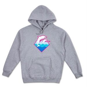 NWT PINK DOLPHIN WAVES HOODIE SZ M